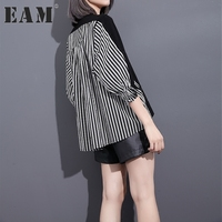 EAM 2017 New Autumn Round Neck Three Quarter Sleeve Solid Color Black Striped Split Joint