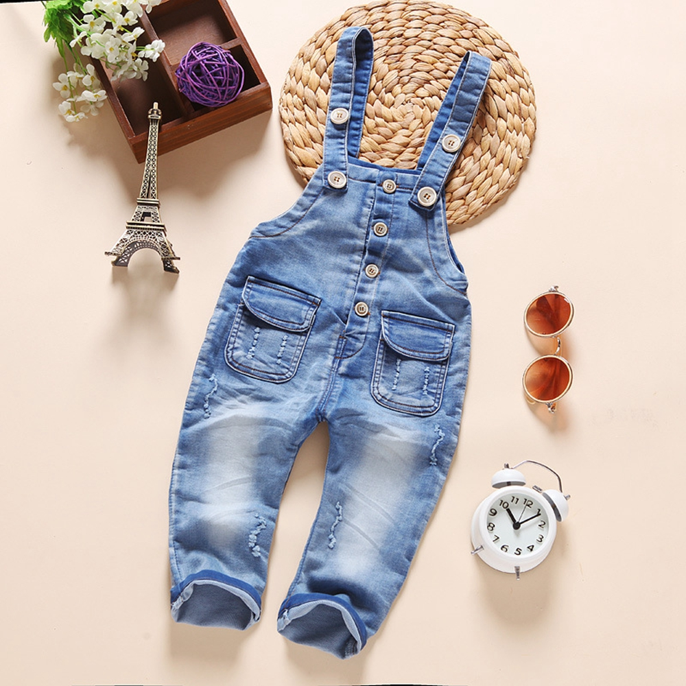 9M-4T Baby Bib Overalls Spring Autumn Boys Girls Suspender Trousers Infant Pants Denim Jumpsuit Jeans   Rompers   Toddler Clothing