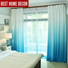 Gradient color window curtains for living room bedroom kitchen tulle curtains and blackout curtains for window shading rate 75 cheap Modern E007 Rope Printed Polyester Cotton Office Hotel Cafe Home elka Ceiling Installation Left and Right Biparting Open