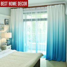 Gradient color window curtains for living room bedroom kitchen tulle curtains and blackout curtains for window shading rate 75%(China)
