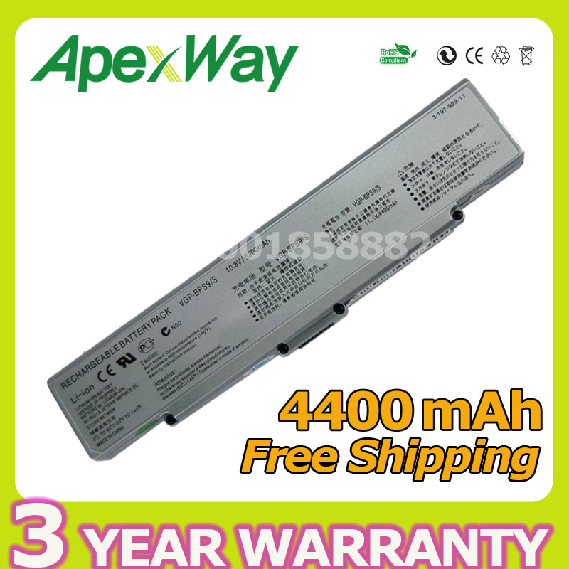 Apexway Silver 6 cells 4400mah laptop battery For Sony BPS9 BPS9/B VGP-BPS9 BPS9A/B VGP-BPL9 VGP-BPS9/B VGP-BPS10 for sony vpceh35yc b vpceh35yc p vpceh35yc w laptop keyboard