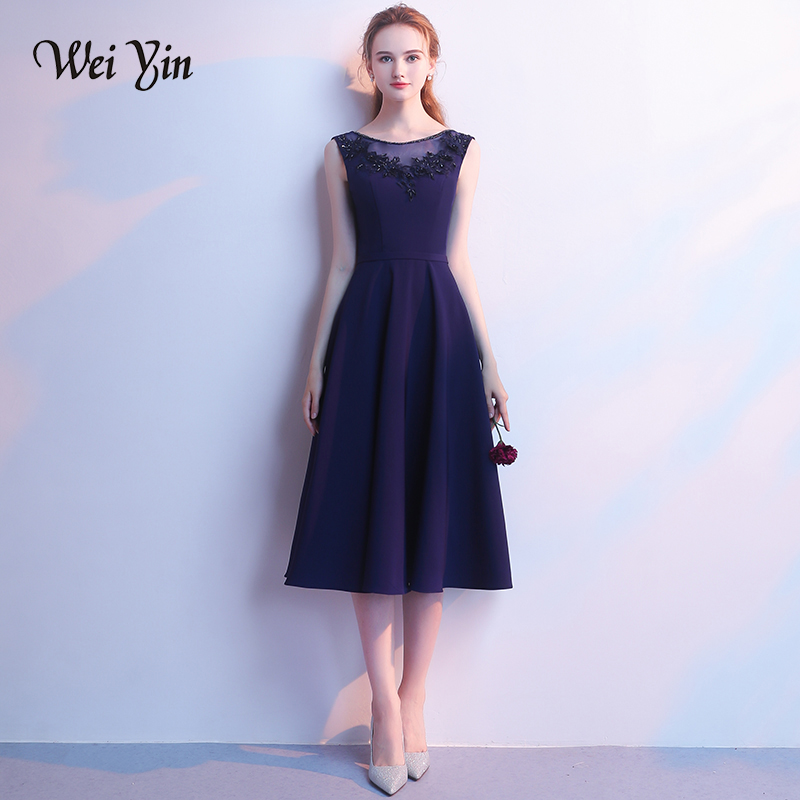 WEIYIN New Sweet   Cocktail     Dresses   Royal Blue Scoop Sleeveless Tea-length Lace Appliques Crystal Party Gown Custom Formal   Dress