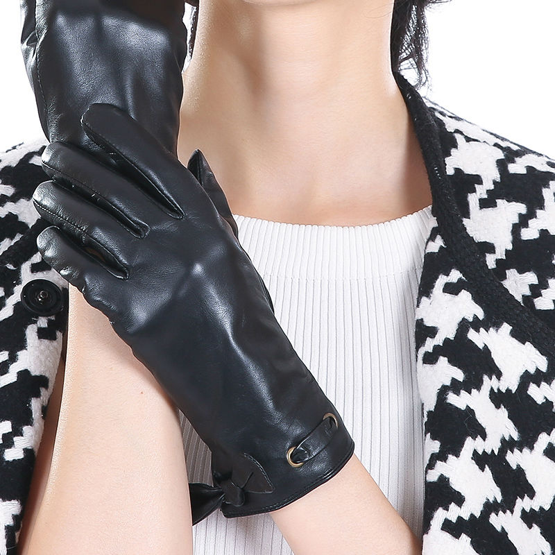 Italy Fashion Quality Women Gloves Real Leather Genuine Lambskin Polyester Lined Lady Bow - Factory store