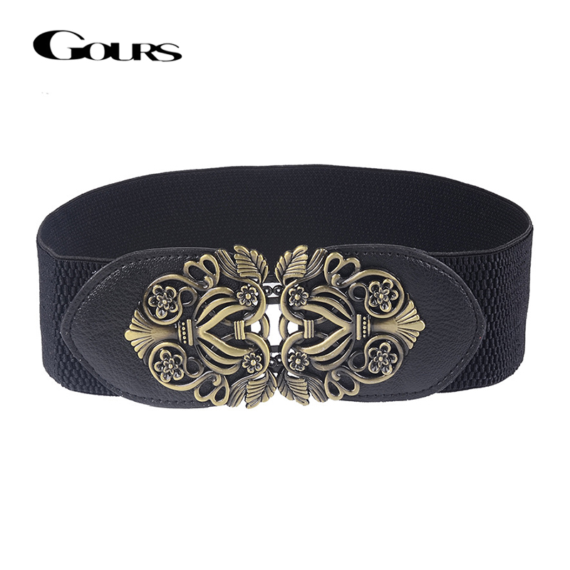 Gours Dress Cummerbunds Women's PU Leather Waist Belts Wide Elastic Girdle Strap Fashion Bohemian Retro Style New Arrival PDL053