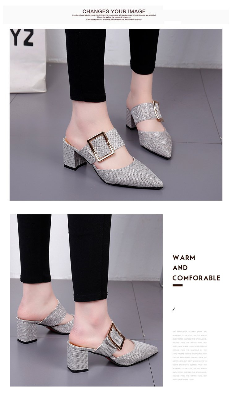 2019spring New Thick with Muller Shoes Women's High Heels Pointed Belt Buckle Back Air Slippers Elegant Temperament Baotou 6