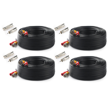 Tonton 4-Packed 100FT 30M High quality BNC Video Cable Security CCTV Camera DC Coaxial Cable Surveillance DVR System Accessories