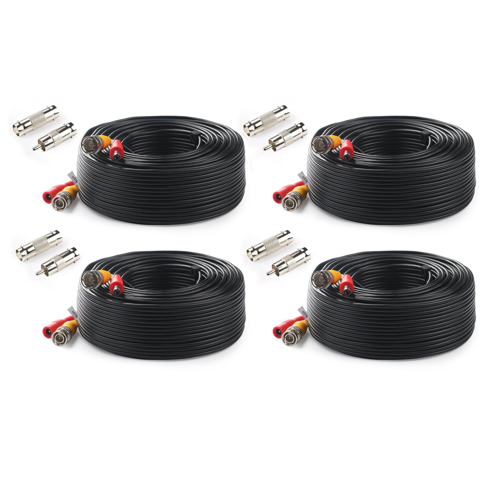 Tonton BNC CCTV Cable (4-Packed 100FT 30M) Video Cable Security CCTV Camera DC Coaxial Cable Surveillance DVR System Accessories