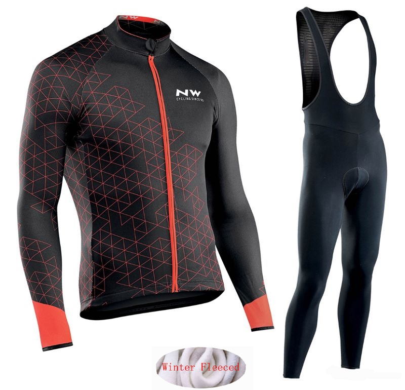Image 3 - Northwave 2019 Winter thermal fleece Set Cycling Clothes NW men's Jersey suit Sport riding bike MTB clothing Bib Pants Warm sets-in Cycling Sets from Sports & Entertainment