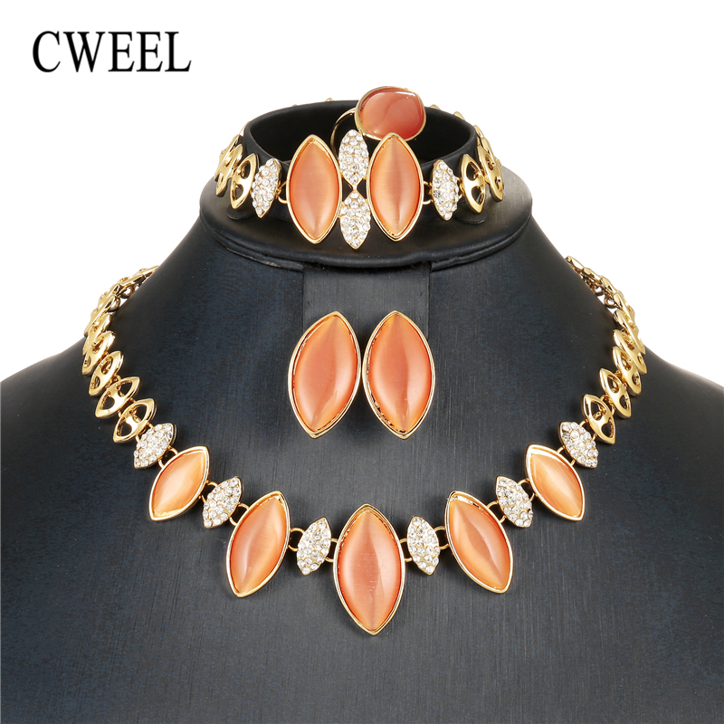 CWEEL Opal Jewelry Sets For Women Wedding Bridal Dubai African Beads Jewelry Set Nigerian Bead Imitation Crystal Cheap Jewellery цены онлайн