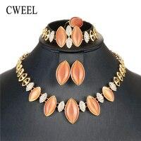 Cweel أوبال المجوهرات مجموعات للنساء الزفاف الخرز والمجوهرات مجموعة دبي الأفريقي النيجيري الخرزة تقليد كريستال رخيصة مجوهرات