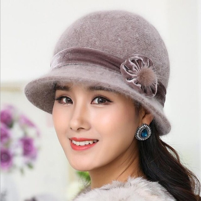 93c50b1a5bf Seioum Wool Women Winter Hat Beanies Bucket Cloche Round Cap Vintage Camel  Flower Fashion elegant girls Warm hat