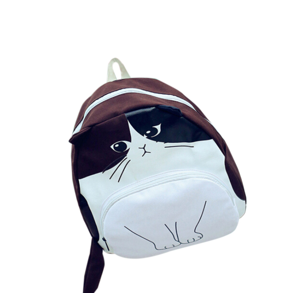Lovely Cute Cat Printing Women Canvas Backpack School Bags for teenage girls Fashion Ladies Casual Book