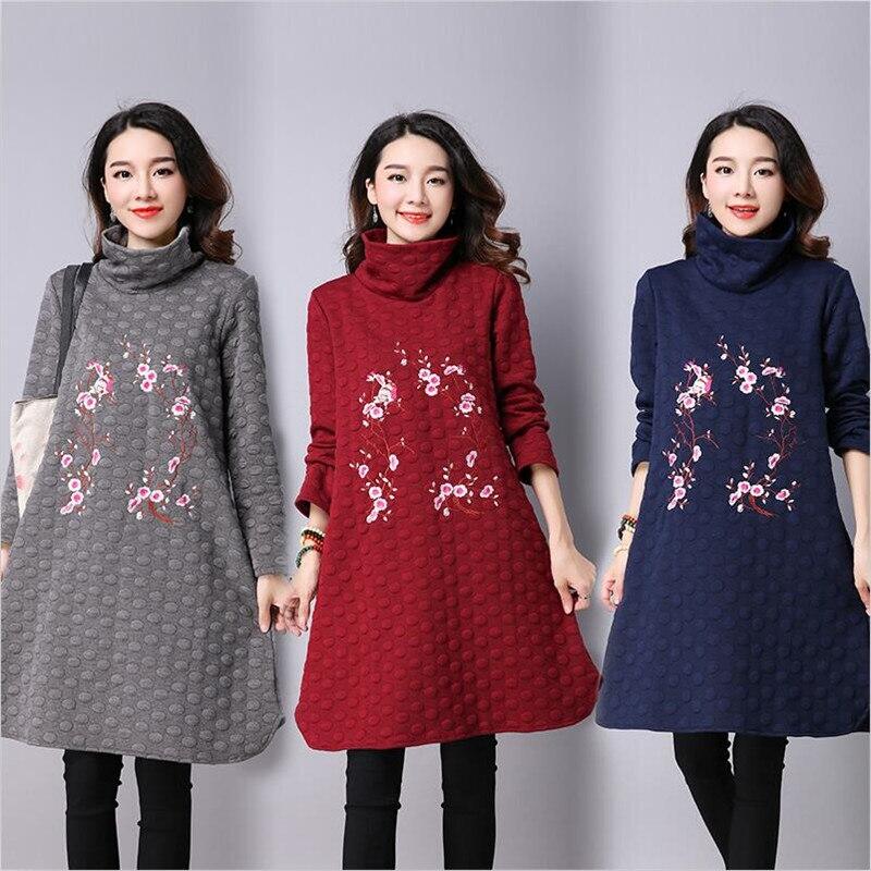 f2de4032239 2019 Осень Зима для женщин Повседневное свободное платье пикантные женские  с длинным рукавом Высокий воротник одноцветное