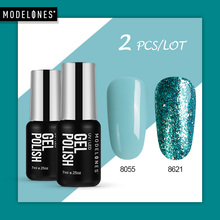 Modelones Platinum Glitter UV Gel Nail Polish Set Color Series Led Nail Gel Varnish Semi Permanent Led Nail Lacquer Sequins Gel