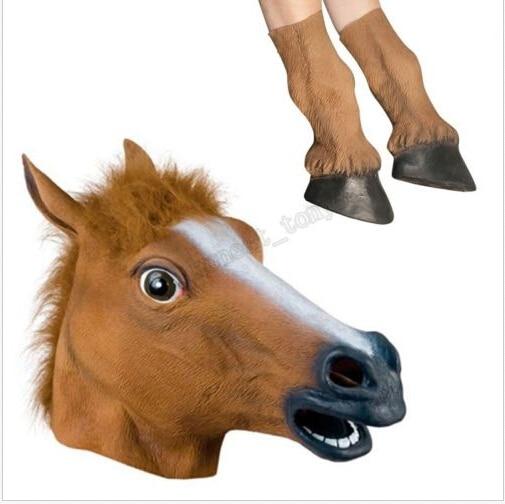 Halloween kostým Prop dospělé latexové koně Rukavice Crazy kopyta silikonové koně nohy efektní šaty strana koně masky na skladě