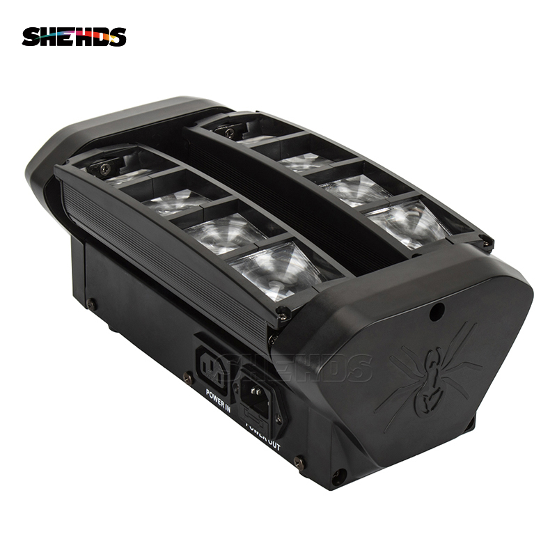 SHEHDS Transporti i shpejtë 8 Eyes Mini LED Beam 8x6W Spider RGBW Beam LED DMX Professional Stage Disco Party Disco Party Dritat