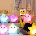 2016 Nuevo Hot 35*38 cm Kawaii Star Cambio de Color Almohada Luminosa almohada con Led Luz Suave Animales de Peluche Juguetes de la Muñeca para niños