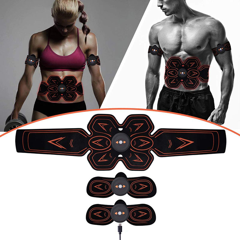 Rechargable Wireless EMS Electric Abdominal Muscles Trainer ABS Stimulator Body Weight Loss Massage Gym Belly Arm