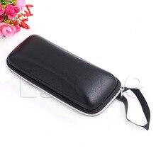 Portable Leather Zipper Eye Glasses Sunglasses Clam Shell Hard Case Protector