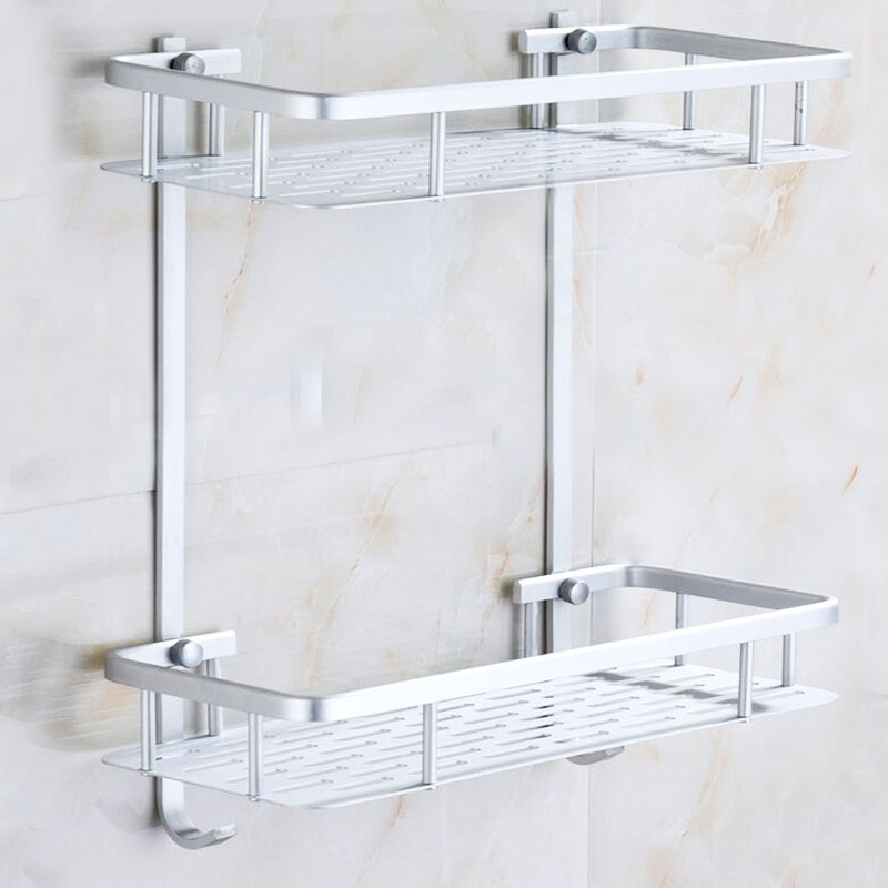 Hot 1 Set Aluminum Dual Tier Bolt Inserting Type Bathroom Shelf Toiletries Rack Wall Mounted Fixture Products 2016