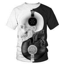 2019 New Design 3D Print Skull Head Music Tshirt Men/women Casual Streetwear Black White Tee T shirt Boys Loose Clothes