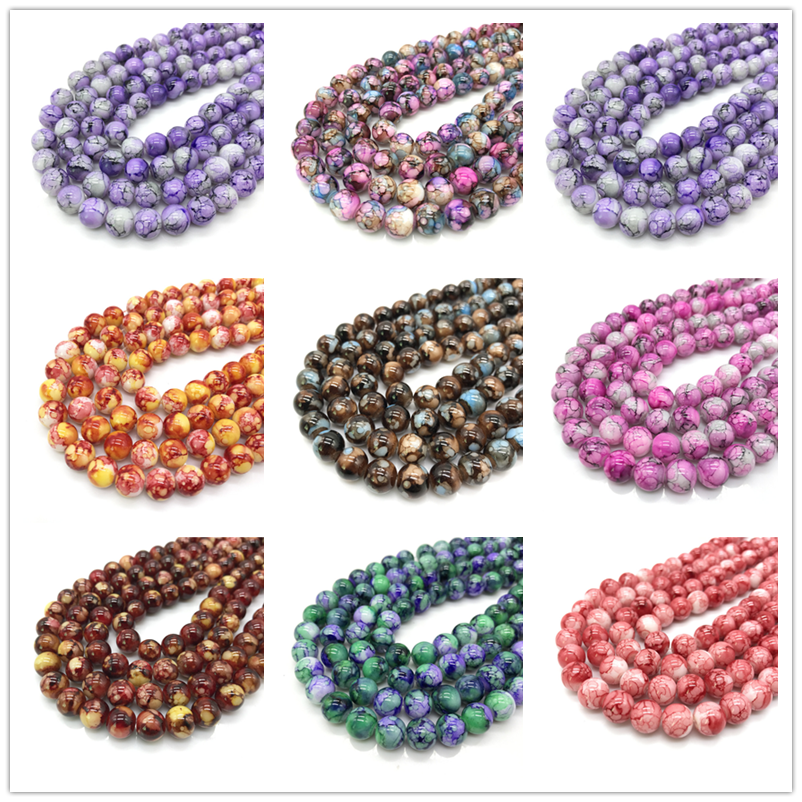 Wholesale 6 8 10mm  Exquisite  pattern glass bead spacer jewelry Bulk Beads For DIY Making Bracelet Necklace Jewelry