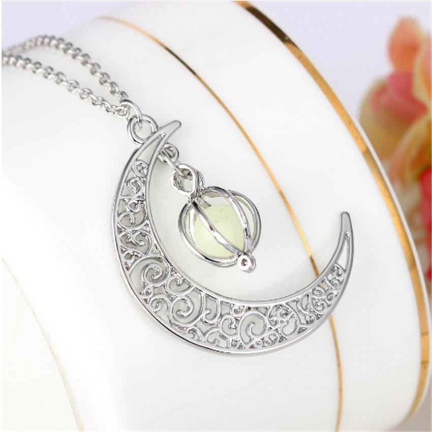 ACEBFEET Luminous Jewelry Moon Necklace Boho Pendant For Women Link Chain Schmuck Stone Sky Blue Kolye Ladies Best Holiday Gift