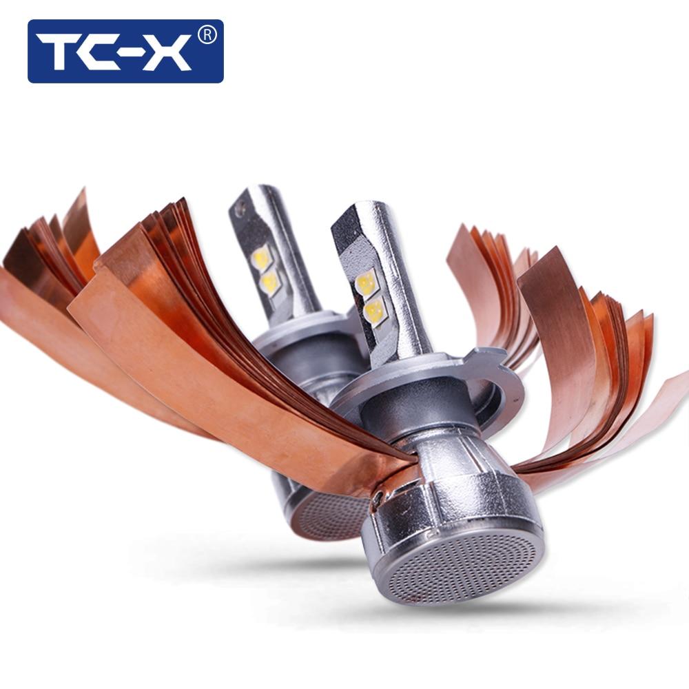 TC-X Super brillante 4300 K XHP50 Chips LED coche faro Kit H4 Hi/Lo H7 CANBUS H11 9005 9006 60 W 7000LM/Set Auto faros