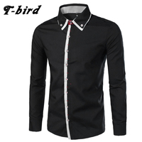 T Bird Men Shirt Brand 2017 Male Long Sleeve Buttons Shirt Casual Solid Color Slim Fit