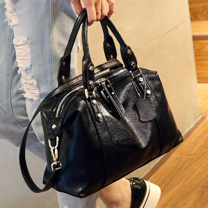 ФОТО 2016 fashion bag genuine leather women bags female handbag messenger bag first layer cowhide shoulder bag bucket handbag