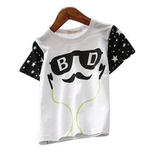 Girl Clothing 2016 Cartoon Figure Children Minions Headset Pattern Short Sleeve Cotton T-Shirts For Baby Boys Girls T-shirts
