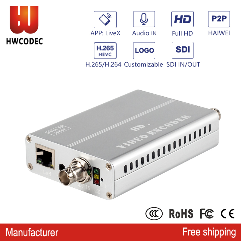 HWCODEC h264/h.265 SDI vidéo sur IP SDI boucle hors encodeur sdi vers ip convertisseur hevc hd encodeur iptv codeur de diffusion en direct