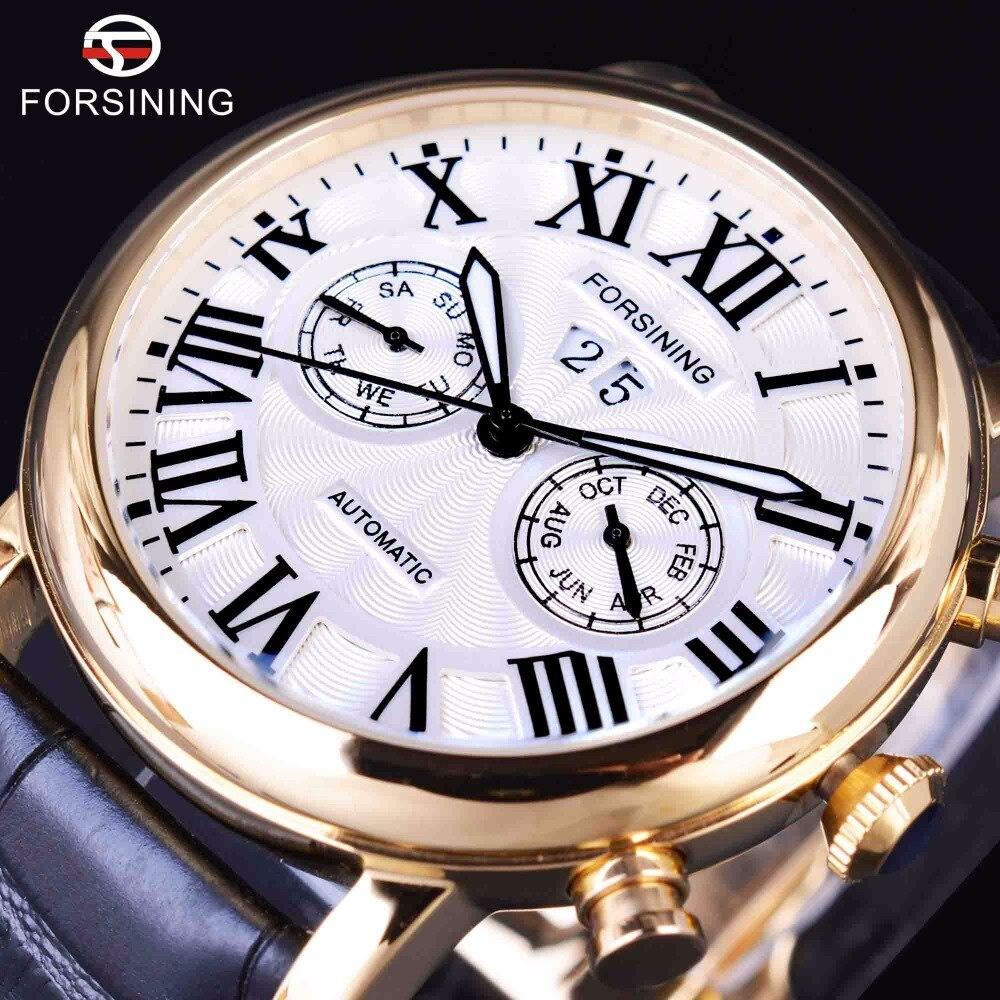 Forsining 2017 Роскошные Дизайн Два Мода набирает Дисплей Роман Количество мужские Часы верхней бренд класса люкс автоматической моды часы