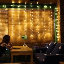 ЕС включи 3 * 1M завеса светлина Романтичен топло бяло осветление 2018 Коледни светлини фестивал, сватбена декорация на открито водоустойчив