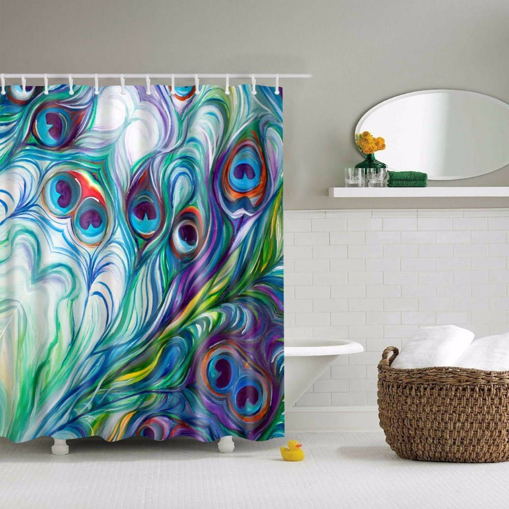Peacock shower curtain hooks - Beddingoutlet Peacock Eye Feathers Shower Curtain Watercolor Painting With Hooks Bathroom Anti Bacterial Waterproof 71