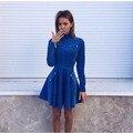 2016 new long-sleeved high - necked dresses zipper Slim winter blue vestidos women dress party robe fashion piece Dress