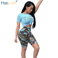 HAOYUAN Two Piece Set Women 2018 Short Sleeve Letter Print Tops And Camouflage Shorts Summer Outfits