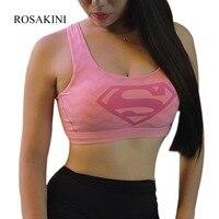 BONJEAN Sexy Women S Elastic Supergirl Sports Bra Shirts Superman Women Running Underwear Padded Bra Color
