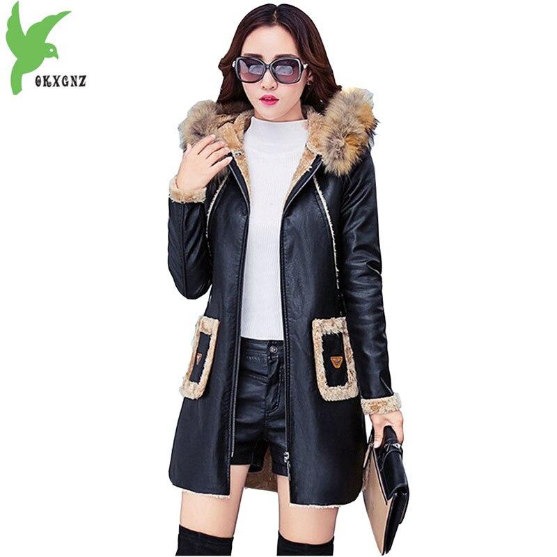 Winter Faux Leather Women Jackets Hooded Fur Collar Coat Fashion Boutique Flocking Medium Length Plus Size Slim Outerwear OKXGNZ