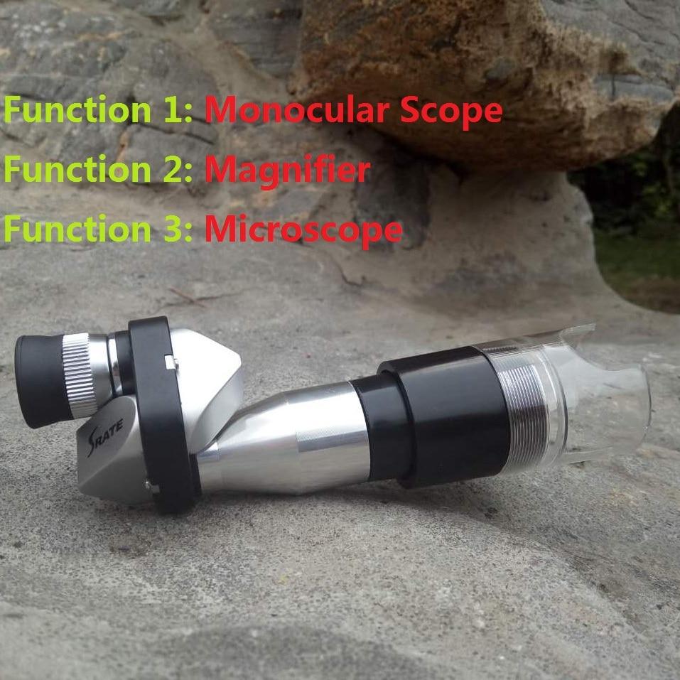 Mini 8X20 Silver Metal Pocket Monocular Telescope Eyepiece with 4X Magnifier 30X Microscope Hiking Climbing Travelling Telescope