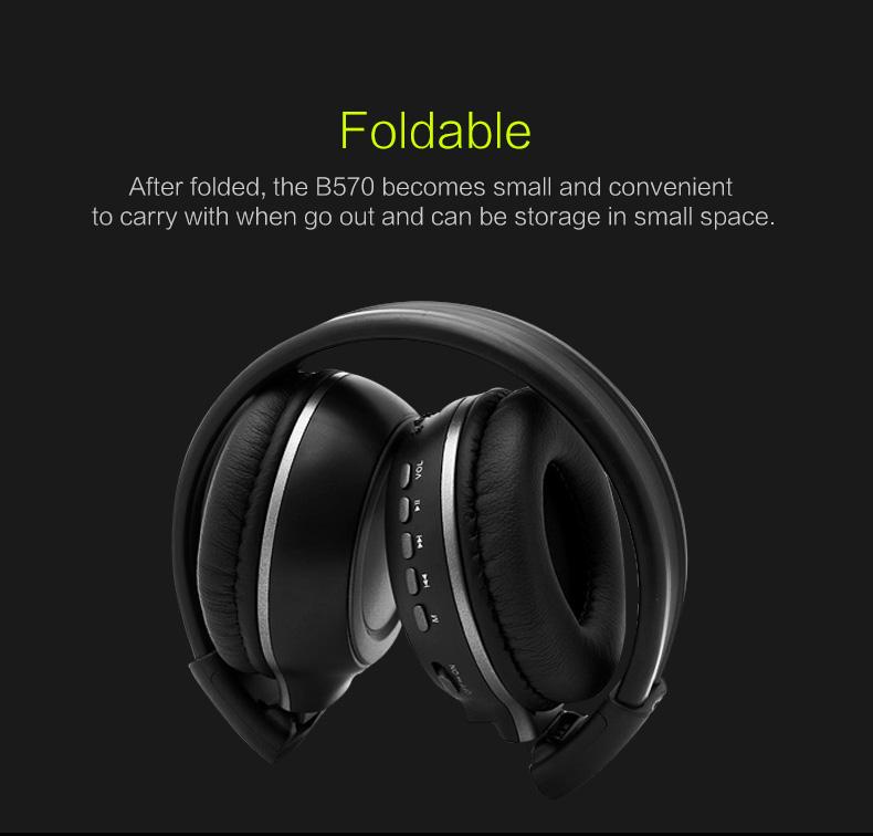 Zealot B570 Earphone Headphone with LCD Screen Bluetooth Headphone Foldable Hifi Stereo Wireless Headset FM Radio TF SD Slot 10