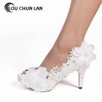 LOUCHUNLAN Woman Shoes Pumps White Open Toe Lace Pearl flower Wedding Shoes High Heels Party Sexy fashion elegant Women Shoes