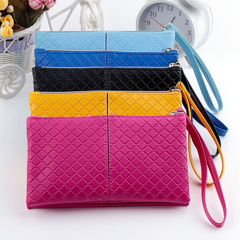 Women Long Purse Fashion Girl PU Leather cheap Coin Purse Wallet mobile phone Card Holders zipper Handbag wristlet clutch Bag