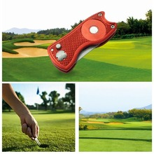 Green Fork Foldable Golf Pitchfork with Golf Ball Tool Pitch Groove Cleaner Golf Training Aids Golf Accessories Putting