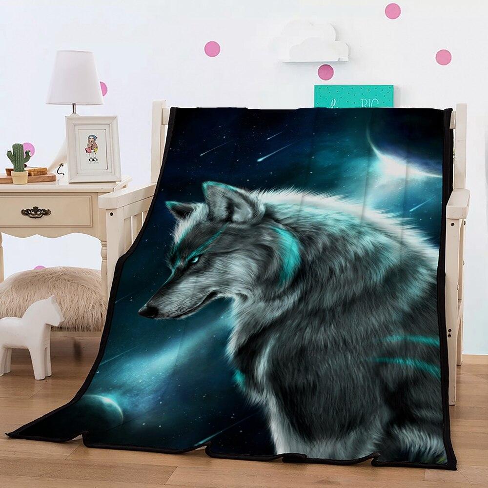 Wolf Blanket 3D Wolf Under Twikkle Stars Sky Blue Printed Boys Fleece Blanket Black/Blue Sherpa Blanket for Kid Boy 150x200cm