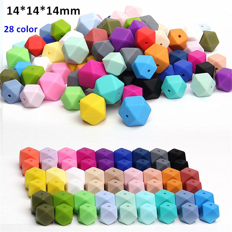 Chenkai 200pcs 14mm Silicone Hexagon Beads DIY baby pacifier teether infant dummy chewing jewelry Toy Making