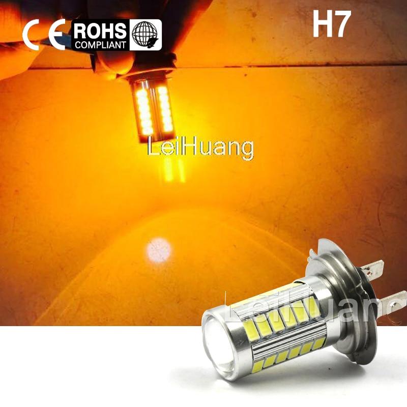 2pcs H7 High Power LED Light Fog Light Headlight Driving DRL Car Light Auto Lamp Bulb yellow