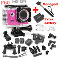 Two Batteries + Monopod F60 4K/30fps Allwinner V3 WiFi Action Camera Go Waterproof pro Full HD Sports camera gopro hero 4 style