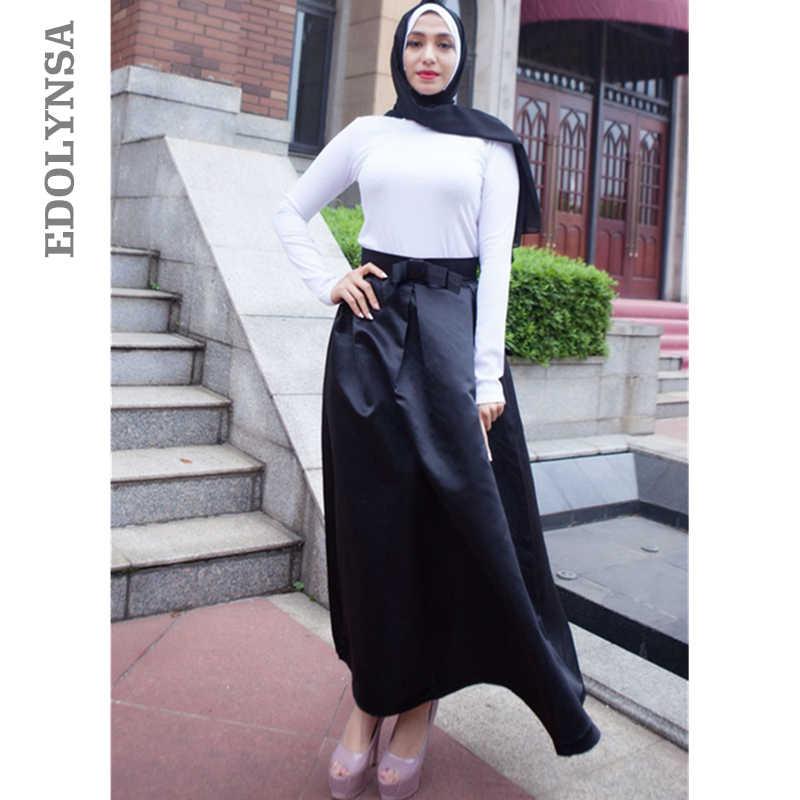 809c606f12 Modest Turkish Skirts Islamic Clothing Elegant High Waist Long Muslim  Skirts Islam Turkey Women Clothes Pleated