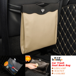 Led Dual-use Storage Bag Car Vehicle Trash Rubbish Bin Garbage Can Styling Dust Case Seat Back Bag  For Nissan Ashtray Barrel